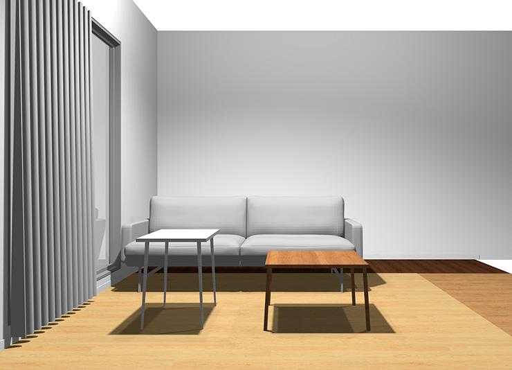 2人掛けソファと長方形リビングテーブル2台(正面から)
