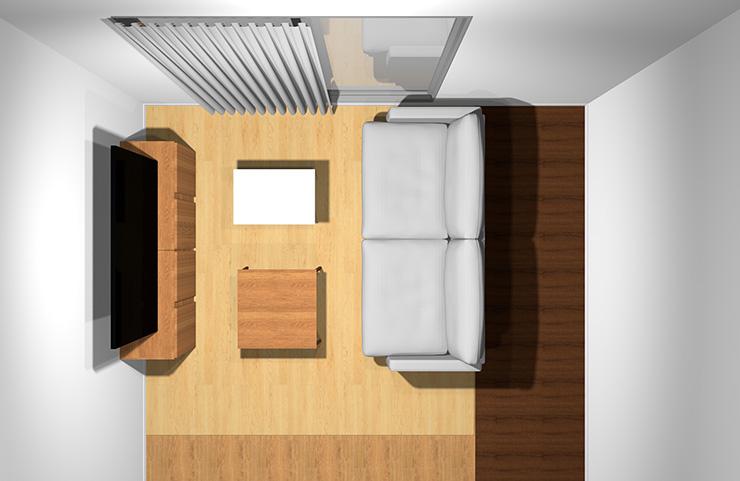 2人掛けソファと長方形リビングテーブル2台(上から)