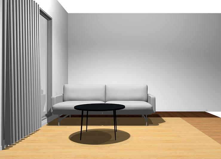 2人掛けソファと丸型コーヒーテーブル(正面)