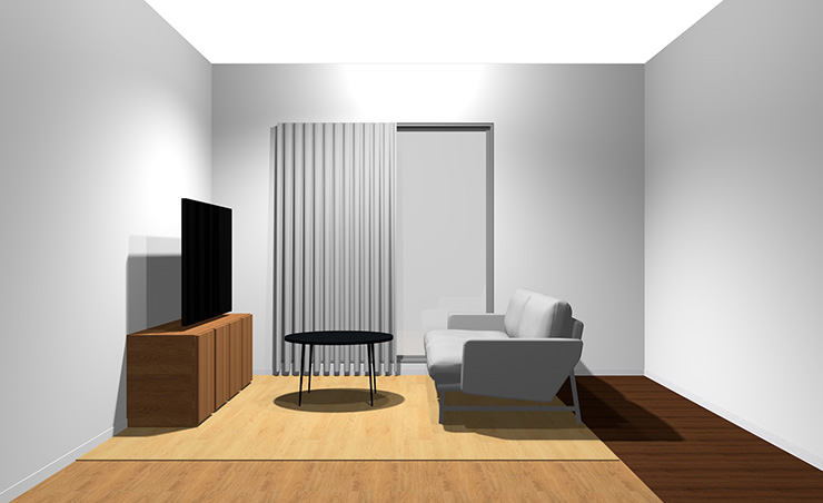 2人掛けソファと丸型コーヒーテーブル(横から)