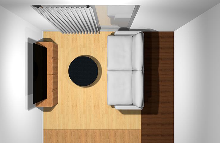 2人掛けソファと丸型コーヒーテーブル(上から)