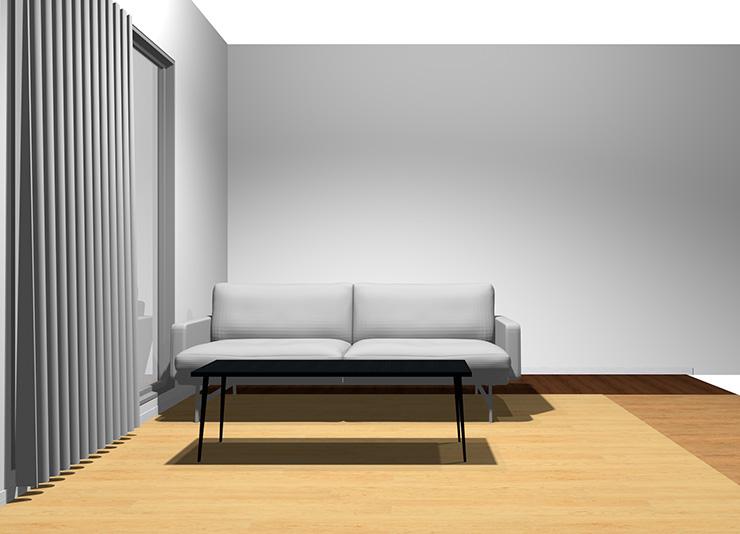 2人掛けソファと長方形リビングテーブル(正面から)