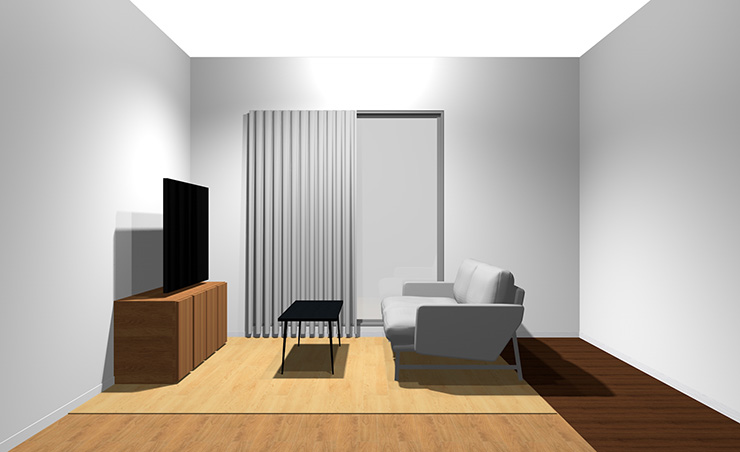 2人掛けソファと長方形リビングテーブル(横から)