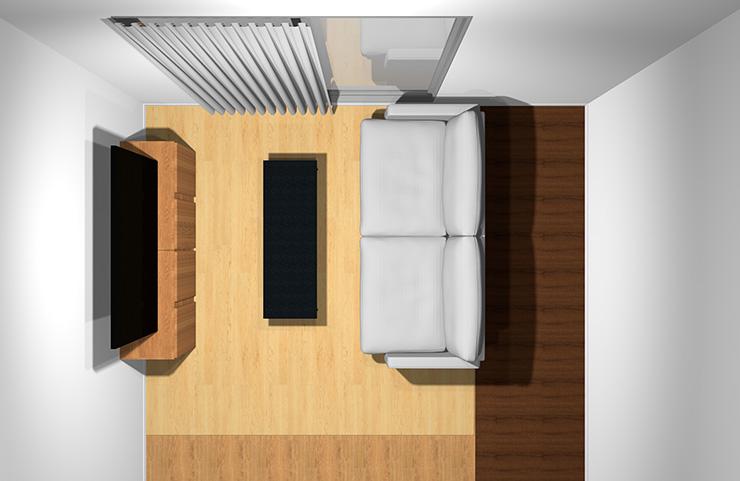 2人掛けソファと長方形リビングテーブル(上から)