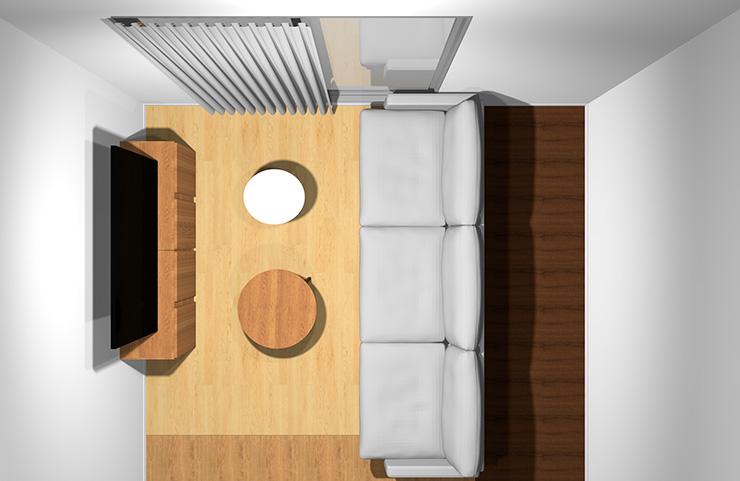 3人掛けソファと丸型リビングテーブル2台(上から)