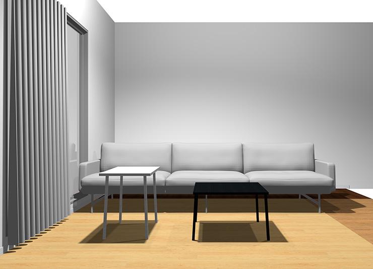 3人掛けソファと長方形リビングテーブル2台(正面から)
