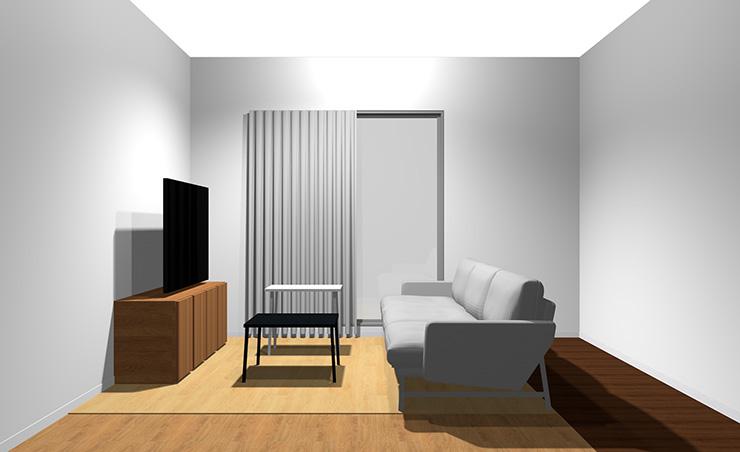3人掛けソファと長方形リビングテーブル2台(横から)