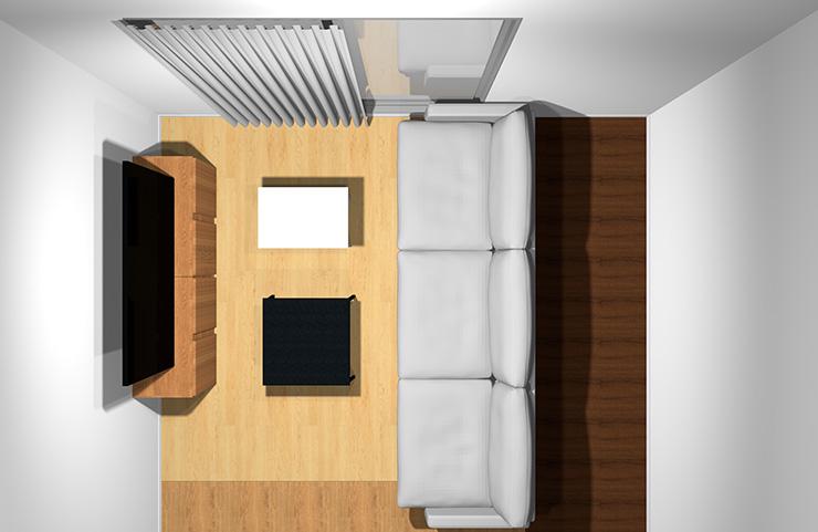 3人掛けソファと長方形リビングテーブル2台(上から)