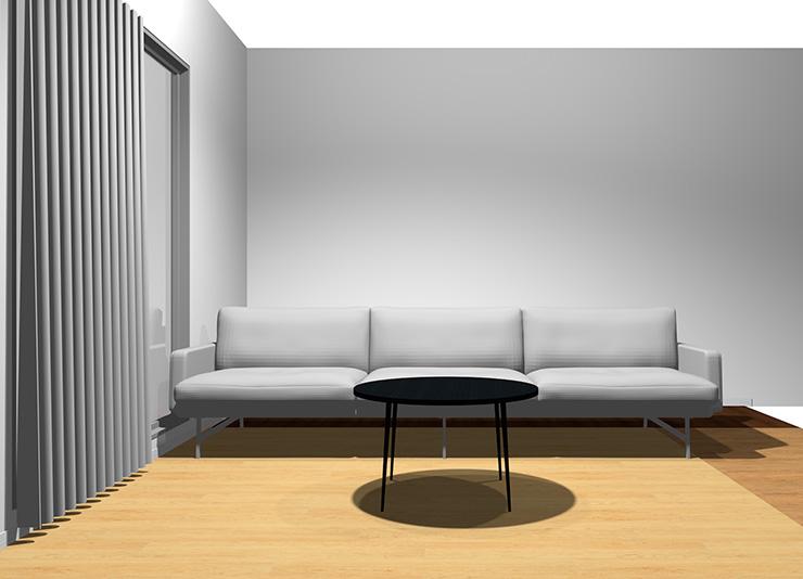 3人掛けソファと丸型リビングテーブル(正面)