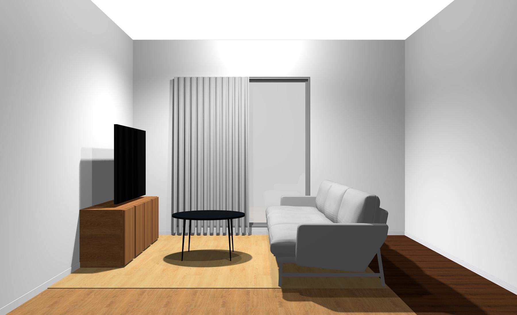 3人掛けソファと丸型リビングテーブル(横から)