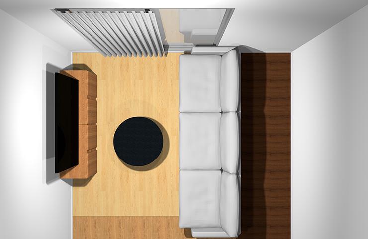 3人掛けソファと丸型リビングテーブル(上から)