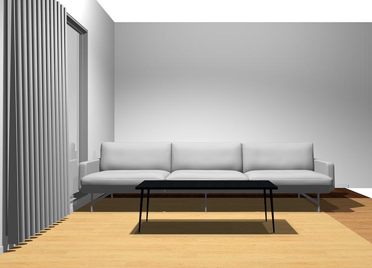 3人掛けソファと長方形リビングテーブル(正面から)