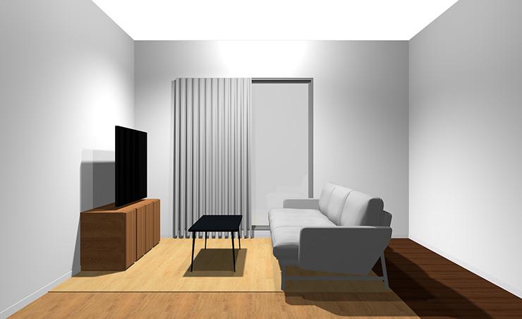 3人掛けソファと長方形リビングテーブル(横から)