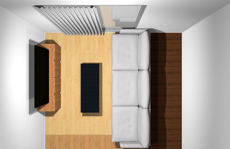 3人掛けソファと長方形リビングテーブル(上から)