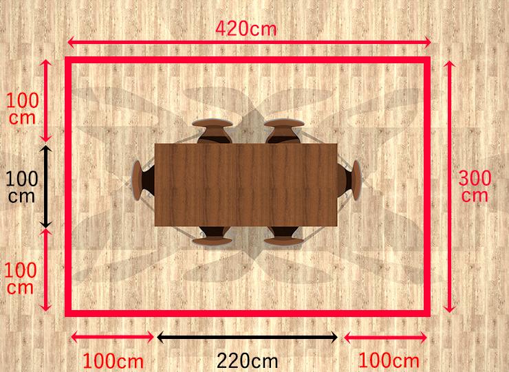 長方形ダイニングテーブル+チェア4脚+2脚周り100cm
