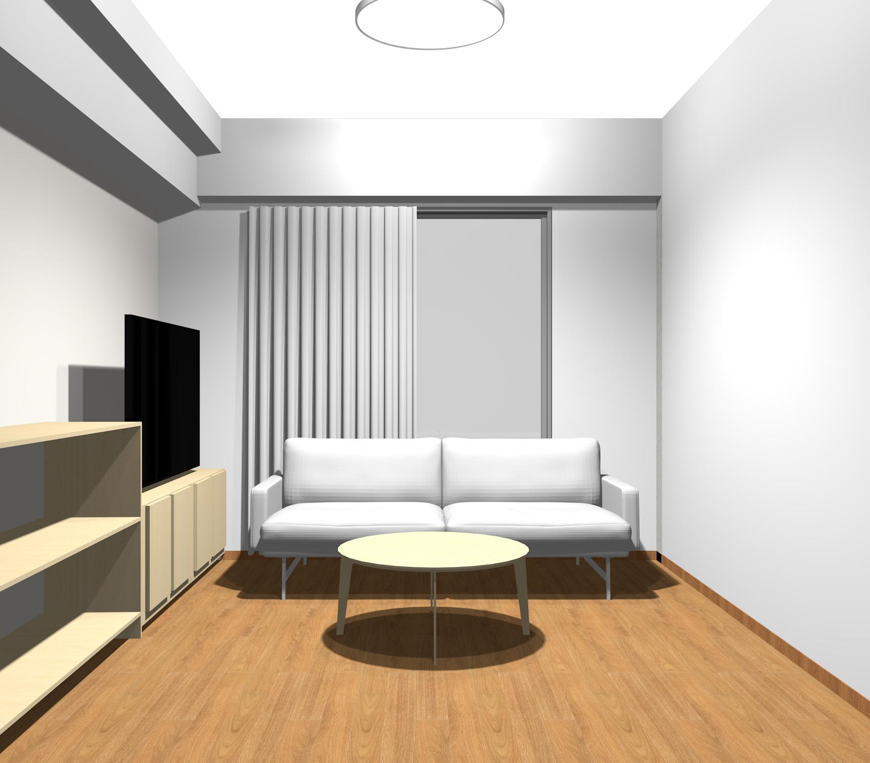 薄い茶色の木目調家具とグレーのモダンエレガントインテリア