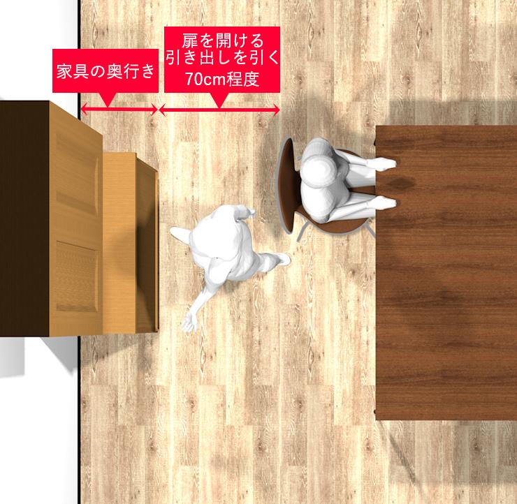 ダイニングテーブルと家具のスペース上からパース