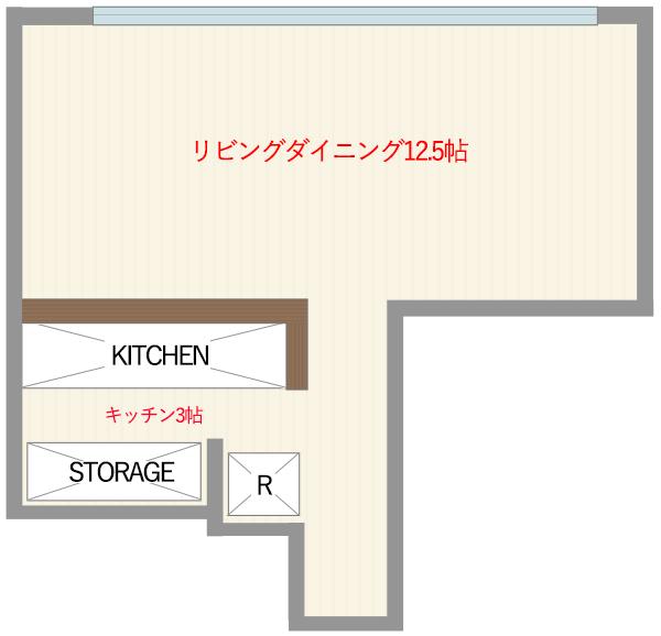 リビングダイニングの帖数を記載したマンションの平面図