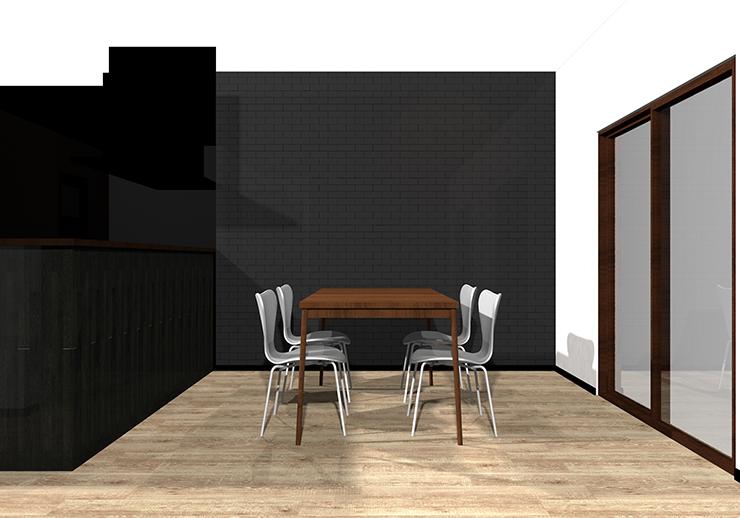 長方形ダイニングテーブルの立体パース