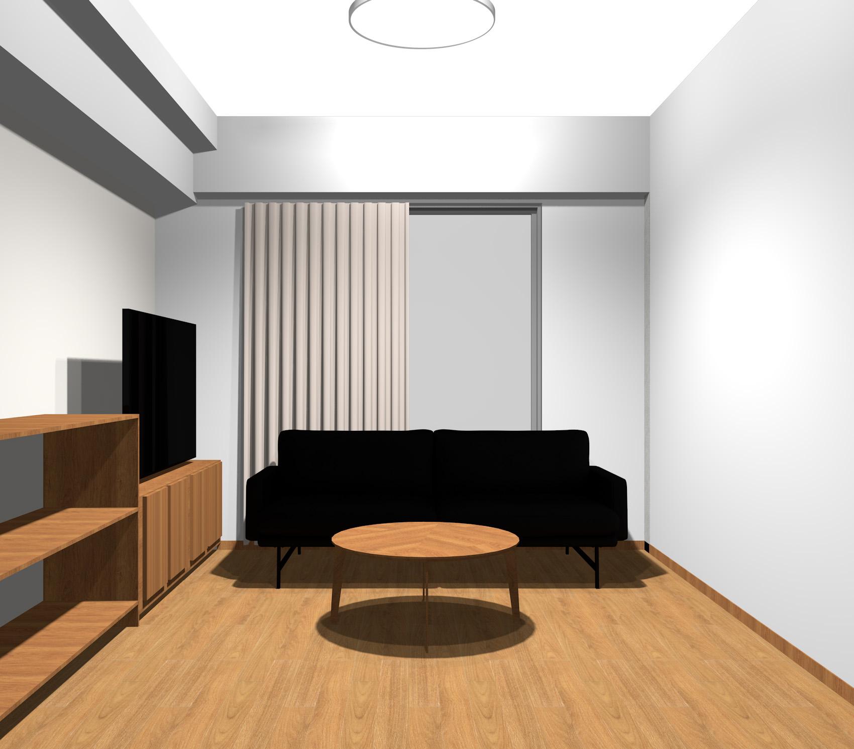黒レザーのソファとベージュのカーテンのモダンインテリア