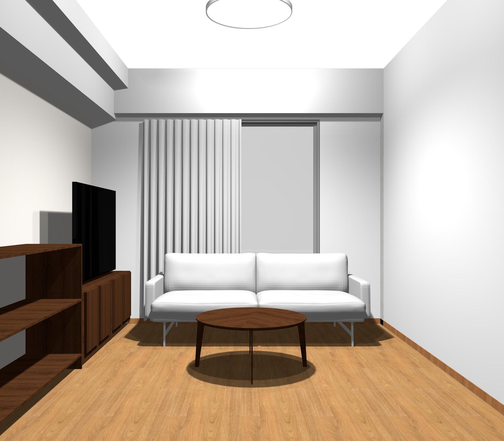 ダークブラウンの木目調家具とグレーのモダンインテリア