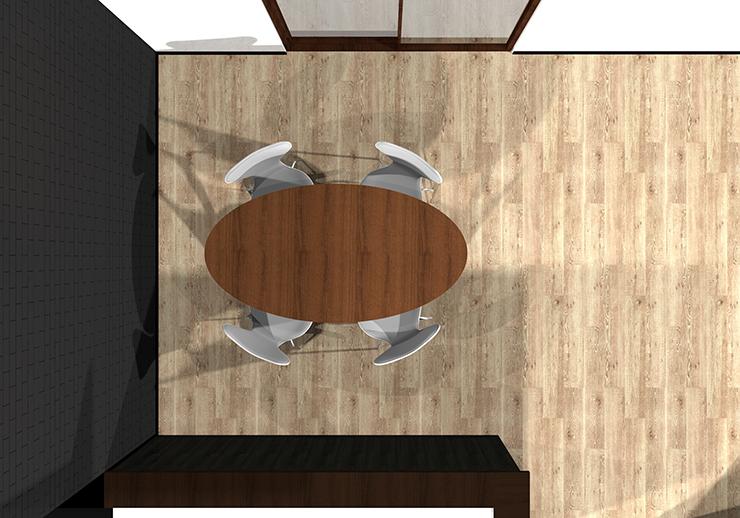 楕円形ダイニングテーブルの平面パース
