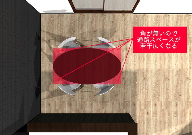 長方形ダイニングテーブルと楕円形ダイニングテーブルの比較