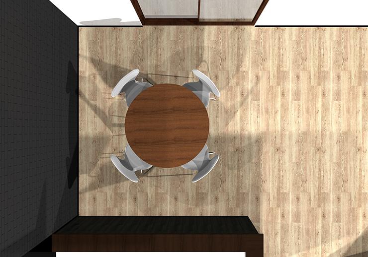 丸型ダイニングテーブルの平面パース
