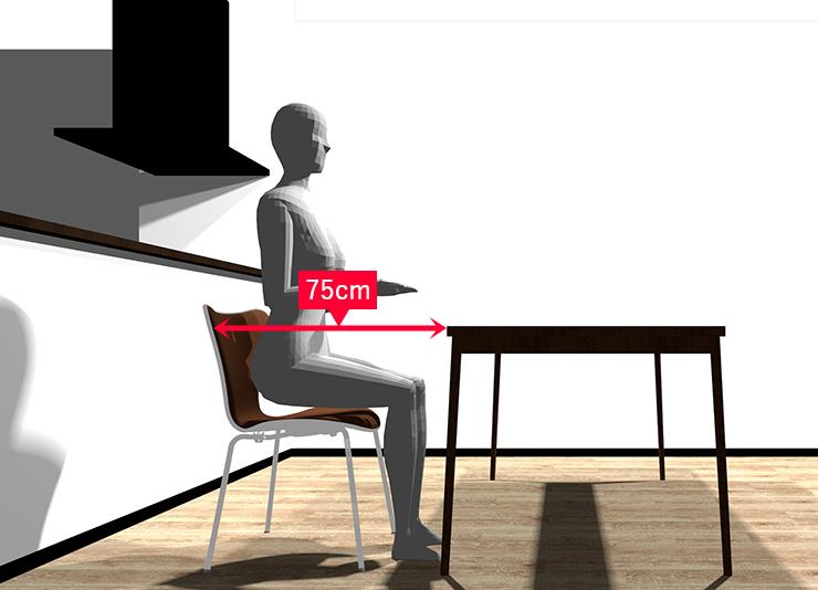 椅子を引く横からパース