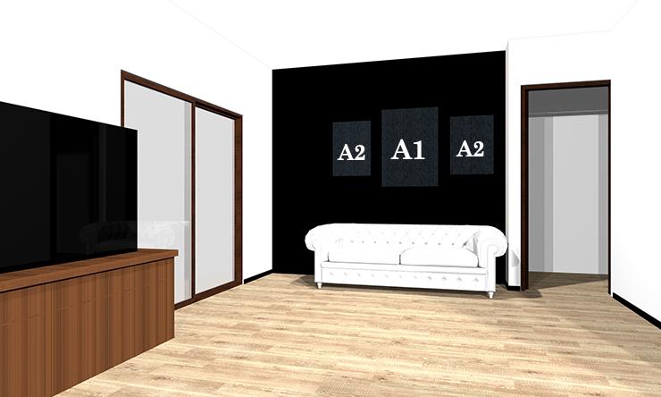 ソファの後ろにA1とA2の絵を2枚