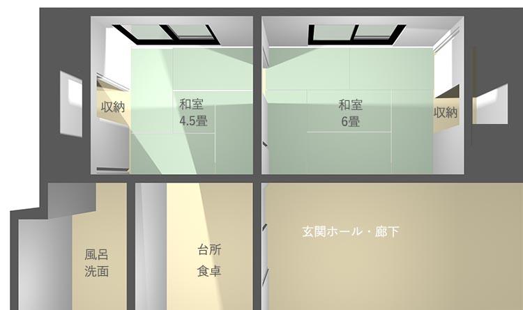4畳半+6畳の和室