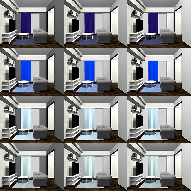 12パターンのグレー×ブルー