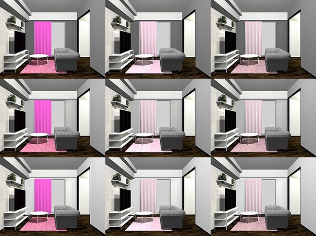 9パターンのグレーとピンクの組み合わせ