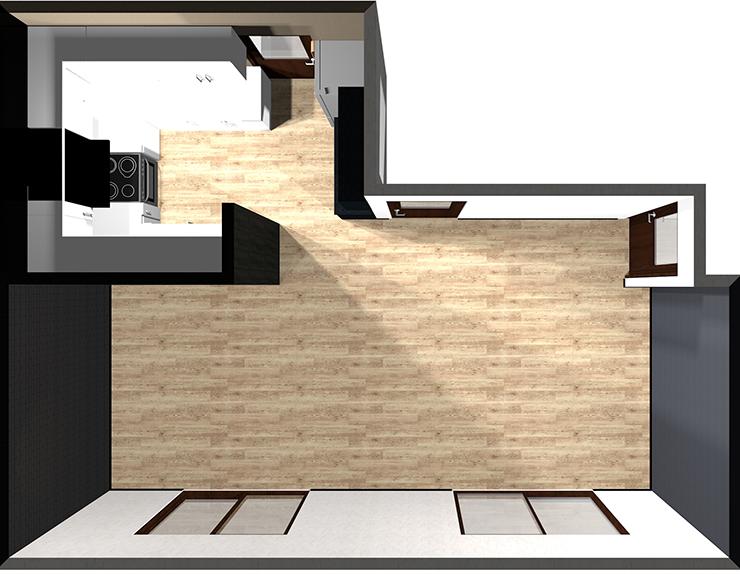 壁付けコの字キッチン