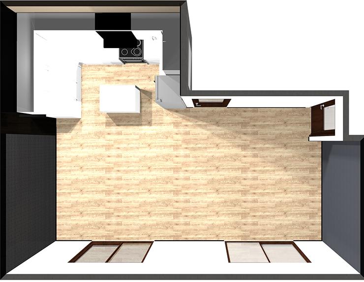 壁付けコの字型キッチン+アイランド