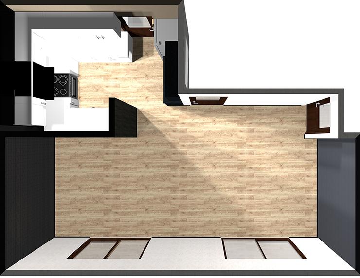 コの字型対面キッチン