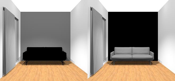 壁とソファの組み合わせ