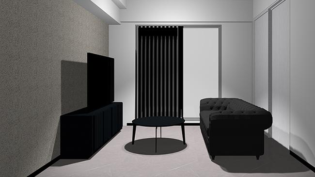 コンクリート床とコンクリート壁と黒の家具