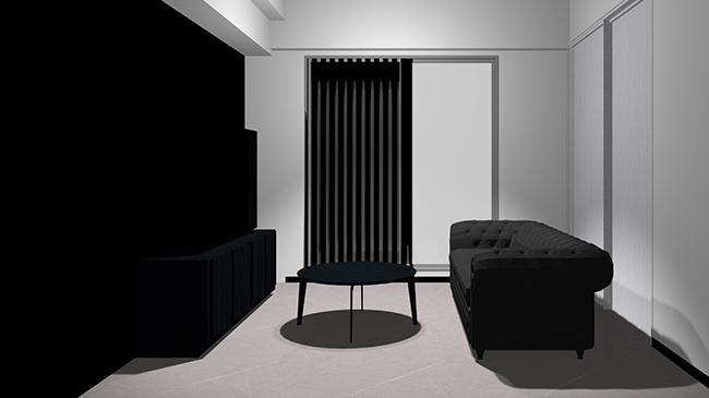 コンクリート床と黒の壁と黒の家具