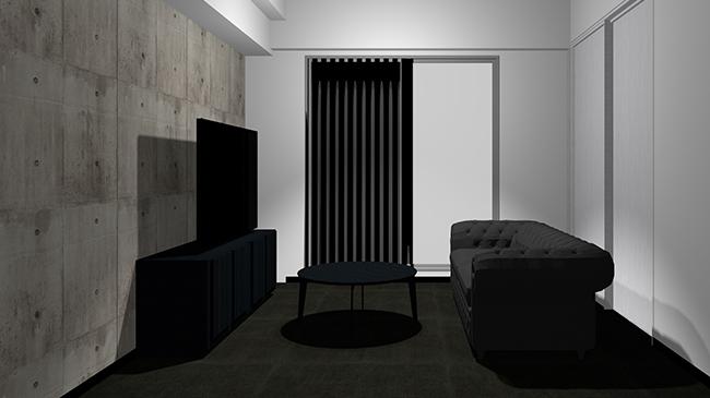 黒の床とコンクリート打ちっぱなし壁と黒の家具