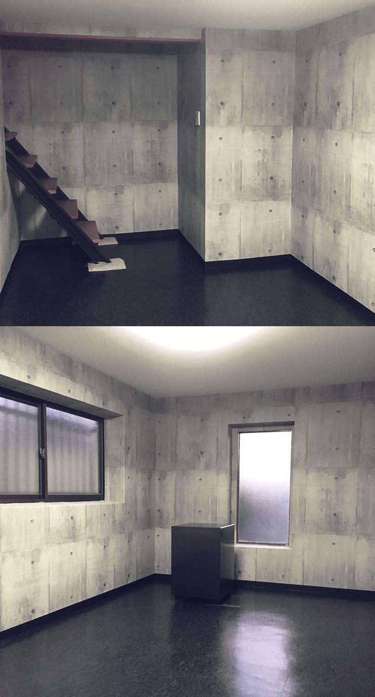 ストーン調の床とコンクリート打ちっぱなしの壁