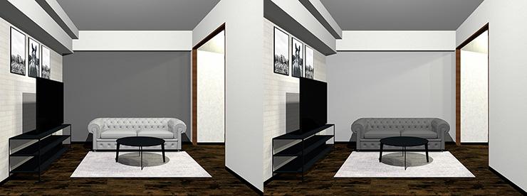 壁とソファ