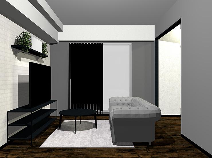 グレー×黒×ダークブラウンの床