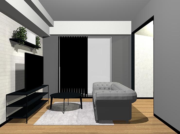 グレー×黒×ミディアムブラウンの床