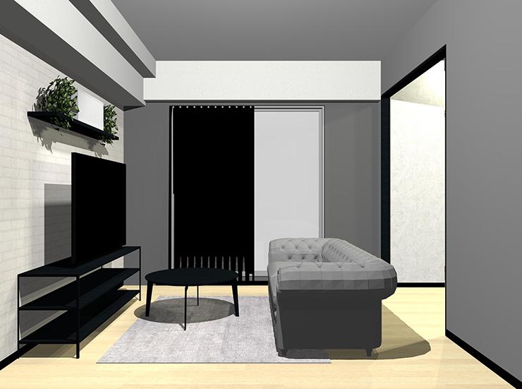 グレー×黒×ナチュラルブラウンの床