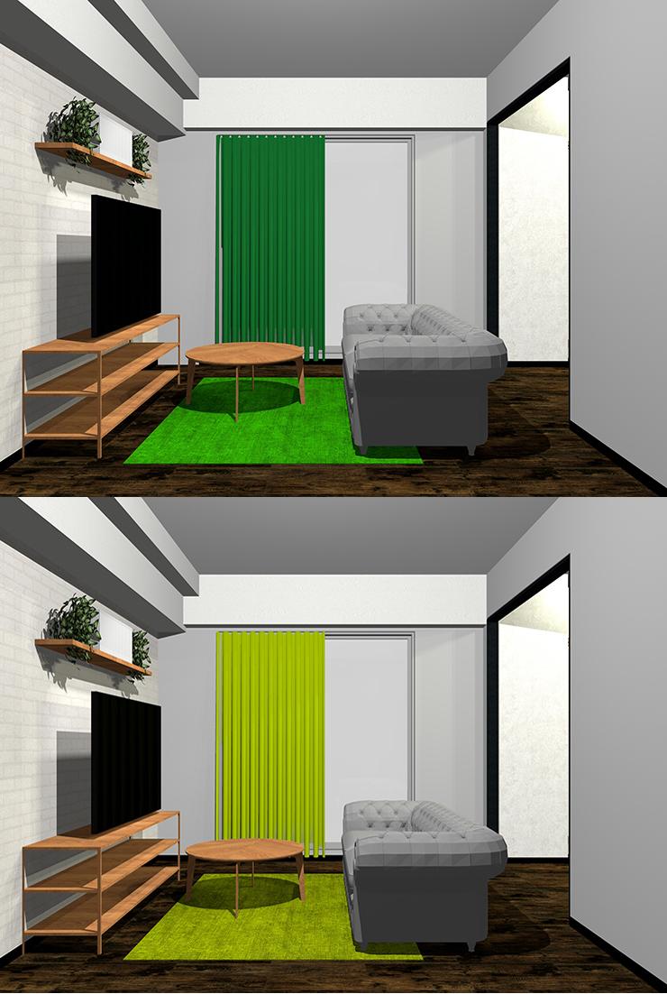 グレー×鮮やかな緑・黄緑