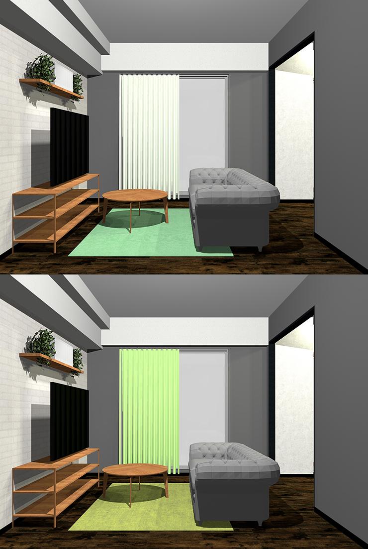 濃いグレー×淡い緑・黄緑