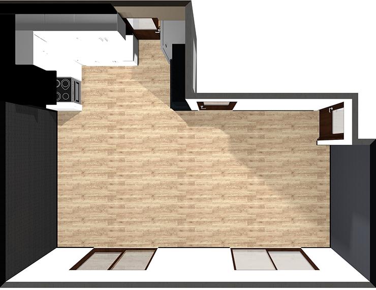 L型壁付けキッチン