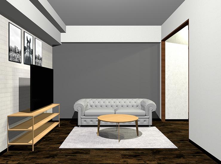 明るいグレーのソファと明るい茶色の家具