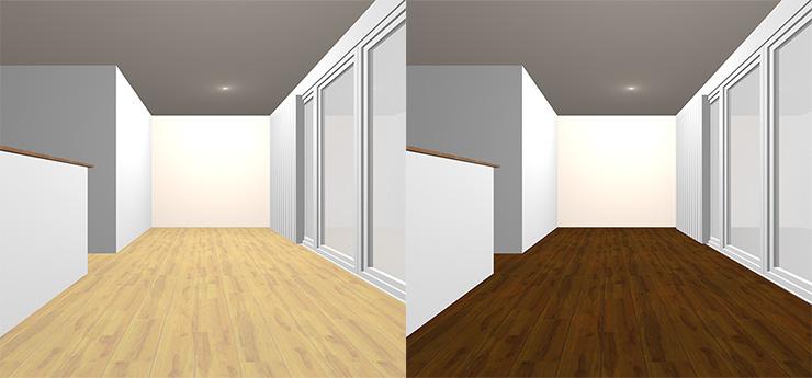 明るい茶色の床と暗い茶色の床の比較